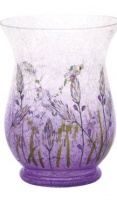 Lavender Crackle Hurricane Vase/Pillar Holder